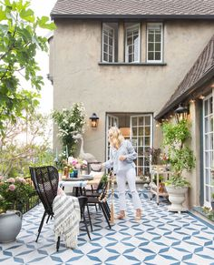 Emily Henderson picks Granada Tiles Burgos cement tile for her patio makeover