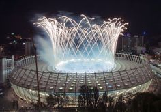 Fireworks explode in the sky over Olympic stadium after the Euro 2012 final soccer match between Spain and Italy in Kiev, July Soccer Stadium, Euro 2012, Sports Complex, Soccer Match, National Football Teams, European Championships, European Football, Champions League, Finals