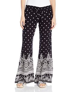 Derek Heart Juniors Paulas Woven Printed Palazzo Pants Black Stan Small * More info could be found at the image url.