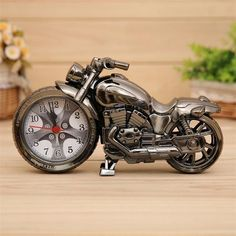 4 color Plastic Motorcycle Cartoon Alarm Clock,Home Decor Art Craft Quartz Clock Electronic Table Alarm Clock Children Gift