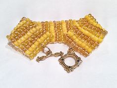 Gold and Yellow Beadwork Bracelet  Golden Seed Bead by DuMoments