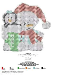 Snowman With Penguin Stocking (Plastic Canvas)
