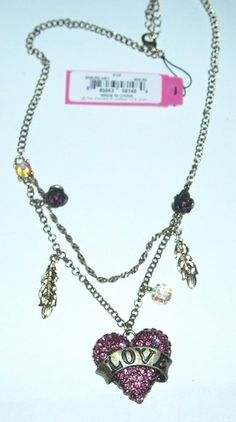 ' Betsey Johnson Pave Crystal Heart Necklace' is going up for auction at  9pm Sat, Feb 9 with a starting bid of $25.