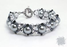 Silver+Gray+Pearl+Stitched+Bracelet+by+DesertStarCreations+on+Etsy,+$29.99