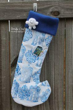 Doctor Who Christmas Stockings!  Tardis damask hand stamped fabric!