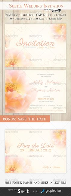Subtle Wedding Invitation — Photoshop PSD #peach #subtle • Available here → https://graphicriver.net/item/subtle-wedding-invitation/5276802?ref=pxcr