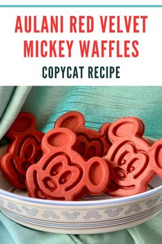 Indulge in Disney style red velvet waffles back home! This recipe is inspired by waffles found at Disney's Aulani Resort. Disney Dishes, Disney Desserts, Disney Snacks, Disney Recipes, Disney Themed Food, Disney Inspired Food, Waffle Recipes, Copycat Recipes, Pancake Recipes