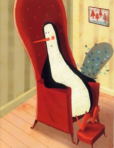 """Francisco Javier Olea illustration for the book, """"The Psychic Penguin""""."""