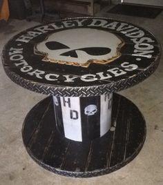Wooden Spool Harley Davidson Table