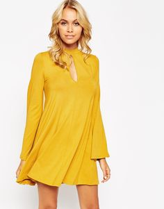 ASOS Swing Dress with Flared Sleeve and Keyhole