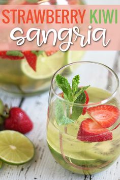 Strawberry Kiwi Sangria is a sweet and refreshing sangria that's always a party favorite! Strawberry Kiwi, Watermelon, Smoothie Recipes, Smoothies, Sangria Ingredients, Fresh Mint, Refreshing Drinks, Food Print, Mobile Bar