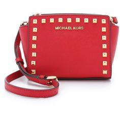 MICHAEL Michael Kors Selma Stud Mini Messenger ($190) ❤ liked on Polyvore