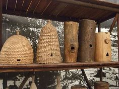 For the Bees- the baskets are called SKEPS... pretty cool looking, but, unfortunatly, you have to destroy the hive to get the honey.... I am working on some ideas though...