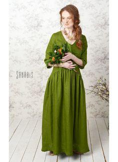 Купить Платье из льна «Прекрасное зеленое» - зеленый, однотонный, купить платье, купить платье из льна
