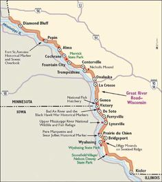 """""""Wisconsin Scenic Drives: Great River Road""""  2012 & 2013 by motorcycle"""