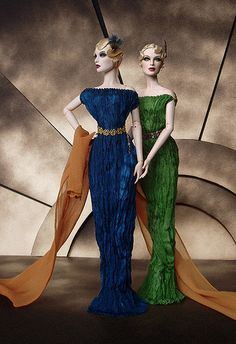 "Numina Grey dolls in ""Fortuny"" gowns and accessories by Leigh Slaughter."