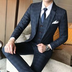 "Universe of goods - Buy ""( Jacket + Vest + Pants ) 2019 New Men's Fashion Boutique Plaid Wedding Dress Suit Three-piece Male Formal Business Casual Suits"" for only USD. Plaid Wedding Dress, Blazer For Men Wedding, Wedding Suits, Trendy Wedding, New Mens Fashion, Mens Fashion Suits, Men's Fashion, Luxury Fashion, Dress Fashion"