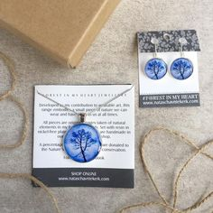 Pendant and Earrings Gift Box - Shadow Tree, Blue Shadow Tree, Heart Jewelry, Wearable Art, My Heart, Range, Pendant Necklace, Box, Earrings, Handmade