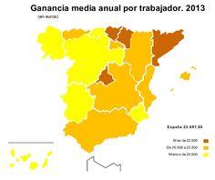ES: Ganancia MEDIA anual (Bruta) por trabajador 2013