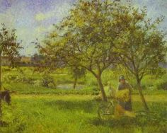 The Wheelbarrow, Orchard, Camille Pissarro