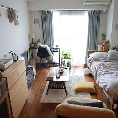 Interior examples such as the whole room / Eames chair reproductive / living alone / / IKEA - Modern Small Apartment Bedrooms, Apartment Bedroom Decor, Studio Apartment Decorating, Room Ideas Bedroom, Small Room Bedroom, Apartment Interior Design, Home Bedroom, Ikea Studio Apartment, Bedroom Wall