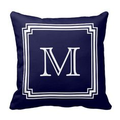 Shop Notched Corner Frame Navy Blue Background Monogram Throw Pillow created by circlealine. Personalize it with photos & text or purchase as is! Monogram Pillows, Custom Pillows, Decorative Pillows, Personalized Pillows, Throw Pillow Covers, Throw Pillows, Blue Pillows, Accent Pillows, Usb