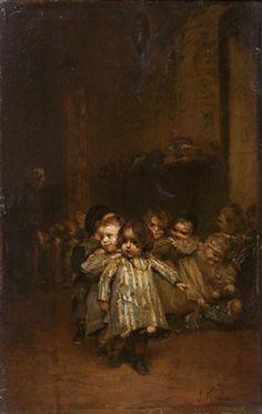 """Orphans"". Ludwig Knaus (1829-1910), German genre painter."