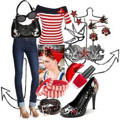 sailor girl pin up style. I want this purse and shoes!