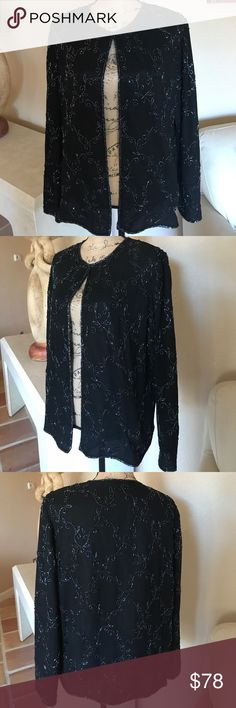Piped Sequin Black Jacket. XL This unique beautifully designed and elegant Jacket is perfect for that special occasion or the upcoming holidays. The pipe sequined runs throughout the piece and is enhanced by the triple layered Sequin edges. The jacket is fully lined with a hook closure at the neck. Perfect condition worn one time. JMD NEW YORK Jackets & Coats
