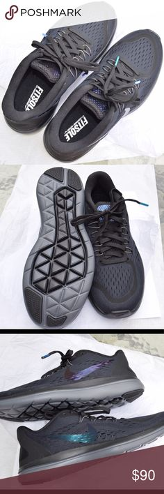 Nike Running Shoes BRAND NEW These are brand new never worn! Black nike running shoes with an iridescent swoosh! Very cute! Make me an offer / feel free to ask questions! Nike Shoes Sneakers