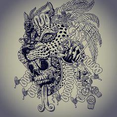 WIP Jaguar Warrior update #skull #snake #serpent #aztec #olmec #jaguar #jaguarwarrior #mexica #mixtec #mayan#toltec #oobsidian #smokingmirror