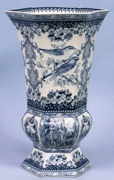 blue and white transferware vase
