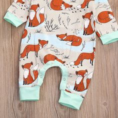 2pcs Baby Set 2017 Newborn Infant Baby Boy Girls Clothes Spring Long Sleeve Fox Print Romper. Click visit to buy #BabyGirlClothingSet #BabyGirl #ClothingSet