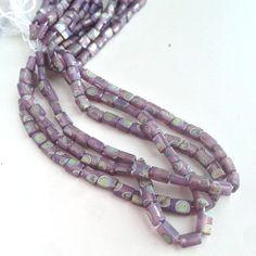 Purple Matte Peacock Stick Glass Beads 4 strands by msbijouxbeads