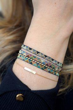 Handmade weave bracelet with Miyuki beads Gold plated image 7 I needed showing you how to make a bracelet with … Loom Bracelet Patterns, Bead Loom Bracelets, Woven Bracelets, Jewelry Patterns, Handmade Bracelets, Beaded Jewelry, Beaded Necklace, Bead Earrings, Beaded Bracelets