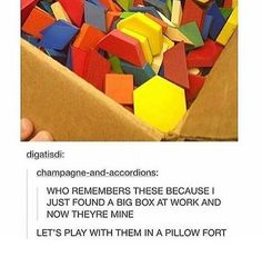 in second grade we had a crap ton of these and we used to make giant stacks of them and see who could make the tallest but most attractive stack and we would also debate about how good they would taste if they were actual sandwiches since each color represented a different food. Yellow was bread, orange was cheese, blue was corn chips (??? why idk ???) tan was chicken, green was lettuce, and red was tomato. Other times we just made huge honeycombs with the yellow ones.