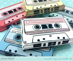 cassette tapes -  gift card holders, party favor boxes, paper toy printable PDF kit - INSTANT download via Etsy