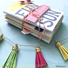 Mini Summer Traveler's Notebooks | Quick Gift Idea by @heatherleopard @pebblesinc #madewithpebbles #travelersnotebook #minialbum #summer #summertime #journal #diy #tutorial #travelersnotebooktutorial #diytravelersnotebook
