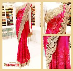 Beautiful floral printed saree with gold borders is highly attractive and a must in your wardrobe - Buy sarees Online at www.aishwaryadesignstudio.com/