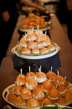 Gold and White Wedding. Buffet Dinner, Late Night Snack, Canapes, Appetizer. Wedding food----chicken salad on pretzel buns tho