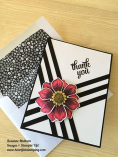 Stampin Up Beautiful Blooms, Thank you, Black and White Handmade CardMisc,