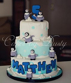 Matthew's Happy Feet cake. I forgot to add the yellow bow tie until the cake was boxed up and ready for delivery so I just took a quick pic with my phone. 1st Birthday Cakes, Birthday Ideas, Happy Birthday, Penguin Cakes, Penguin Party, Little Girl Birthday, Cakes For Boys, Cute Cakes, Cake Creations