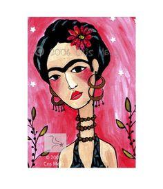Frida Kahlo Pink Cloud Print by meloearth