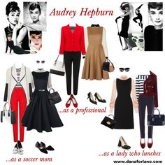What would Audrey Hepburn wear in 2014 if she were a soccer mom?...a professional?... a lady of means? See more at www.danaforlano.com