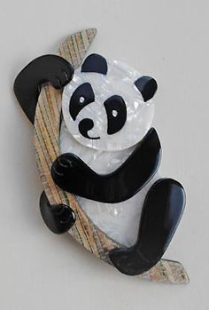 Lea Stein Other Animals #01  This fabulous Panda brooch measures 9cms long and the back has the 'V' shaped signed pin.