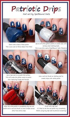 Patriotic Drips nail art Tutorial Spellbound Nails red white blue stripes glitter America Independence Day 4th of July