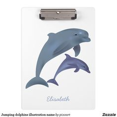 Jumping dolphins illustration name clipboard