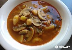 Gombás gombócleves Black Eyed Peas, Thai Red Curry, Ethnic Recipes, Food, Essen, Meals, Yemek, Eten