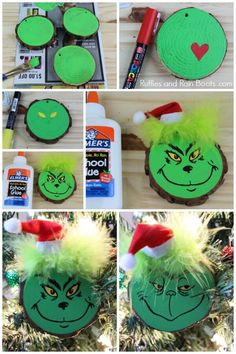 This fun DIY Grinch ornament set is perfect for any Christmas tree. Click through to see our easy tutorial (and another kid-friendly Grinch ornament)! decor diy grinch DIY Grinch Ornament Set for a Christmas Tree or Gifts Grinch Christmas Decorations, Grinch Ornaments, Christmas Ornament Crafts, Holiday Crafts, Grinch Christmas Party, Kids Christmas, Christmas Projects For Kids, Grinch Party, Christmas Christmas
