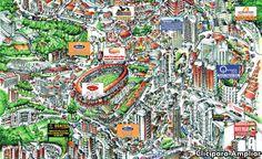 """Ilustración a mano de la llamada """" zona rosa"""" de la ciudad de Manizales, en donde se destaca el Estadio Palogrande de la mencionada ciudad"""